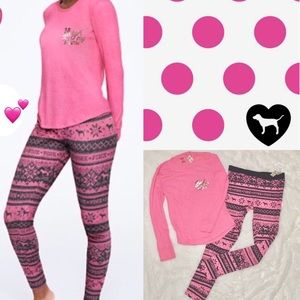 VS PINK 🎄 Cozy Bubblegum Fair Isle Sleep Set